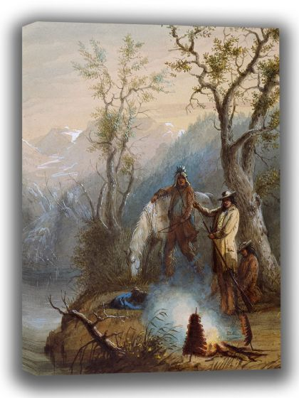 Miller, Alfred Jacob: Roasting The Hump Rib. Fine Art Canvas. Sizes: A4/A3/A2/A1 (003818) (3)